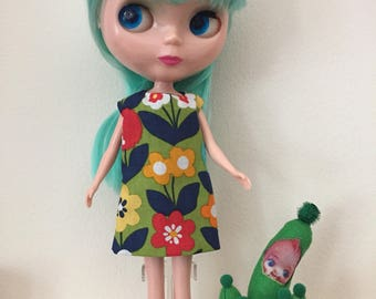 Floral Print Hippie Mod Shift Dress for Blythe