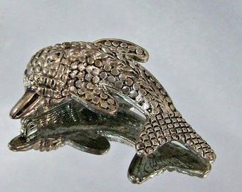 ON SALE Vintage Dolphin Brooch.  Pewter.  Fish.