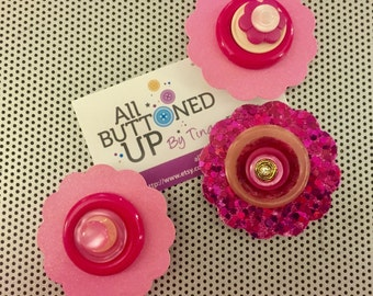 Pink Button Flower Magnets ~ Desk Accessory ~ Inexpensive Gift ~ Girls Bedroom Decor ~ Unique Gift ~ Repurposed Buttons - Gift for Crafter