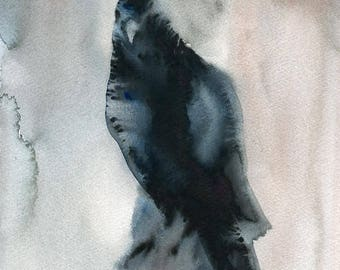Crow Original watercolor painting 8x10inch