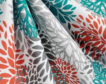 Spring Sale 20% off-Flower Blooms Curtains/Window Treatments, Blooms Pacific, Turquoise, Orange, and Grey Curtains Flowers in Bloom Curtains