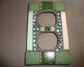 Mosaic Electrical Outlet Cover, Wall Plate, Wall Art, Green, Mother of Pearl, Silver, Blue