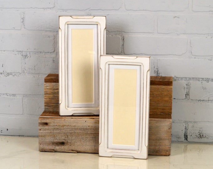 """Photo Booth Picture Frame 4x10"""" for Photo Strip in Shallow Bones Style with Vintage White Finish - IN STOCK - Same Day Shipping - 2x8 Photo"""