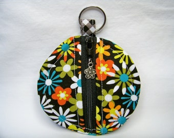 Ear Bud Pouch in Flowers A Plenty in Coin - Coin Pouch - Key Pouch - Purse Accessory - Ready To Ship