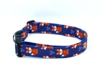 The Sly Painted Fox on Blue Dog Collar