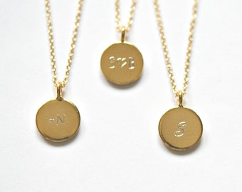 Gold pendant necklace, engraved or blank, custom name, small round gold disk charm, personalized, delicate, simple everyday jewelry - Ellen