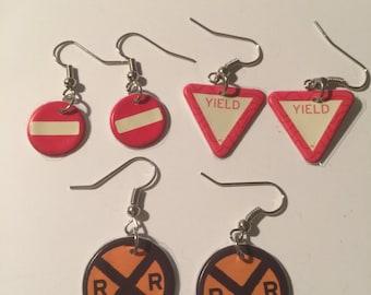 Street sign earrings, Yield Earrings, Railroad Crossing Earrings, Do not Enter Earrings, Do not Enter Dangles. yield sign dangles, yield