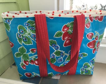 June in Ct. large retro oilcloth tote bag with strawberries on sky  blue