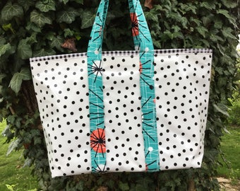 Large black and white retro oilcloth tote bag