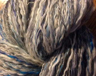 "229 Yards Hand spun Two Ply Alpaca / Bamboo 80/20% plied with Silk Yarn ""Stormy Sea"""