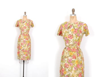 Vintage 1950s Dress / 50s Floral Printed Silk Wiggle Dress / Garden Party ( small S )
