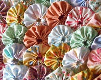 30 Pastel 2 Inch Yo Yo Fabric Applique Quilting Block Barrette Hair Clip Trim Supplies 1