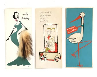 Vintage Mid Century de mael 1950's greeting card lot - 3 cards paper ephemera