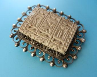 Antique Victorian Egyptian Revival carved Lava Panel Egyptian symbols 800 silver  brooch pin - antique Italian Victorian  brooch - art.601/4