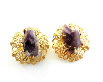 Rare CORO Genuine Amethyst Nuggets gold filigree earrings - golden airy lace around the genuine amethyst - Art.769/4