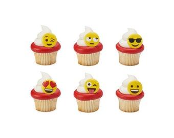 Emoji Cupcake Rings, Yellow Emoticon Cupcake Toppers