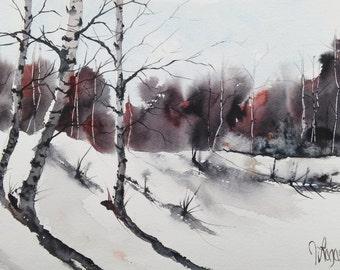 Original Watercolour Painting by Jim Lagasse | Silver Birch Trees Painting | Original Snowy Landscape Watercolour | Winter Trees Painting