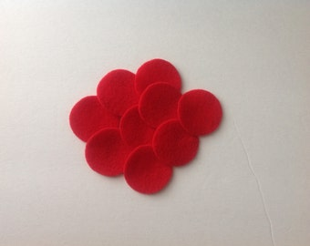 "50 WATERMELON 1&1/2"" Wool penny rug circles"