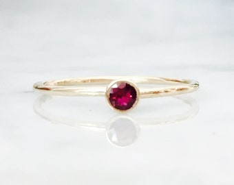 Red Ruby Stack Ring 14k Solid Yellow or White Gold Made to Order