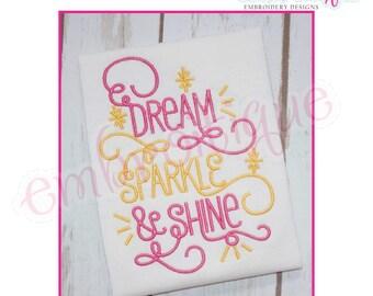 Dream Sparkle & Shine -Curly Cute-  Instant Download Machine Embroidery Design