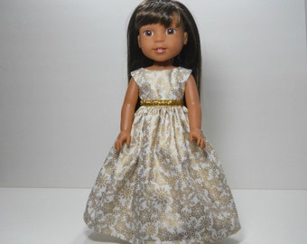 Made to fit 14.5 inch dolls such as Wellie Wishers, White and Gold Snowflake Fancy Dress, 12-1628