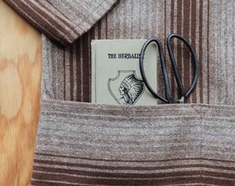 Vintage Georgia O'Keeffe Artist's Smock | Welsh Woven Wool | Southwest Serape Stripe Mock Neck Garden Poncho | XL One Size | FREE SHIPPING