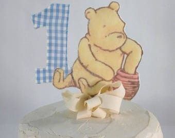 Classic Pooh bear cake topper, fabric Winnie the Pooh first birthday cake, party decoration G070