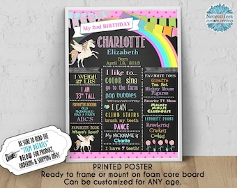 """PRINTED Birthday Poster, 11"""" x 14"""", 16"""" x 20"""", 18"""" x 24"""", Unicorn, Rainbow, Pastel Colors, Chalkboard Look, Ready to Frame, For Any Age"""