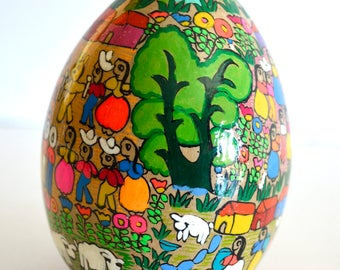 Vintage Mexican Folk Art Pottery Hand Painted Village Scene Egg Socorro de Jesus Gro Mexico Villager Village People