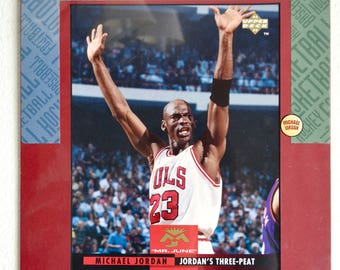 """1993 Upper Deck Michael Jordan """"Mr. June"""" Three Peat Super Star Blow Up Card Ready to Frame Collectable"""