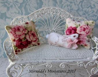 ooak dollhouse miniature Bunny Rabbit pillow set cottage chic pink roses