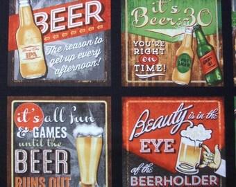 Cheers Beer Drinking Ad Blocks Fabric Robert Kaufman Panel