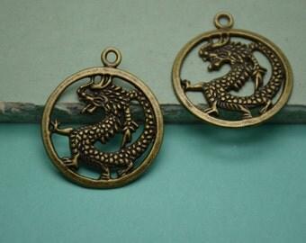 20pcs 32mmx37mm Dragon Antique Bronze Retro Pendant Charm For Jewelry Pendant