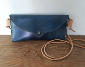 Hand Stitched Leather Mini Crossbody Bag in Indigo