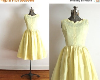 ON SALE 50s Dress / 1950s Yellow Dress / 50s Full Skirted Yellow Bridesmaid Dress