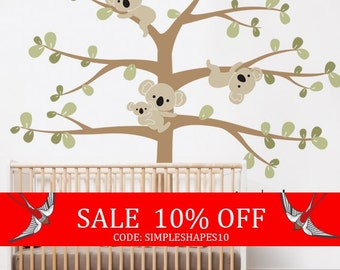 Sale - Use Coupon Code SIMPLESHAPES10 for 10% off - Koala Tree Wall Decal, Koala Hanging From Branches, Baby Nursery Wall Decal