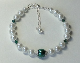 White and Green Pearl and Crystal Bridal Bridesmaid Bracelet