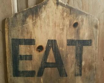 Old Wood Peel Turned Art Kitchen Sign EAT