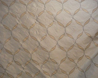 Cream Aqua GOLD EMBROIDER SILK Dupioni Fabric