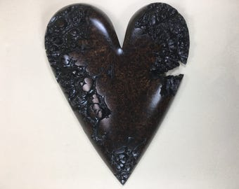 Special wooden heart brown romantic Anniversary gift wood carving