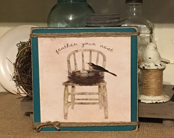 Spring Decor,Spring Decorations,Bird,Bird Nest,Bird Print,Bird Art,Rustic Sign,Primitive Wood Sign,Farm Style Decor,Farmhouse Decor