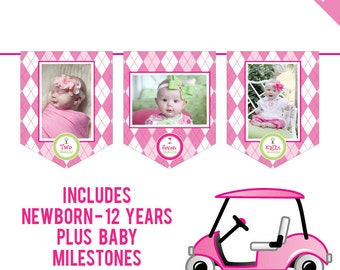INSTANT DOWNLOAD Pink Golf Party - DIY printable photo banner kit - Includes Newborn through 12 Years, Plus Baby Milestones