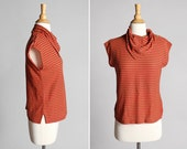 Vintage French Striped Tee - Red Tan Stripe Dolman Kravat Bandana Style Button Shoulder Top Casual Sailor Nautical Summer - Size Small