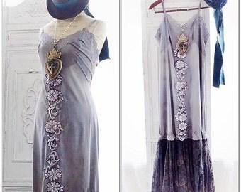 Sale Romantic boho maxi dress, Stevie Nicks style gypsy slip dress, Bohemian french country lace dress, cottage sundress True rebel clothing