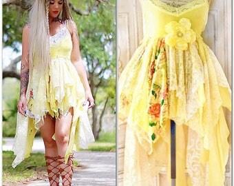 L SALE Boho Sunshine yellow high low tunic, boho sundress, shabby cottage chic tunic french market parisian shirt, lace, True rebel clothing