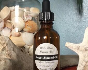 100% Pure SWEET ALMOND OIL--60ml Amber dropper bottle-Lovely Smooth Carrier or Blending Oil