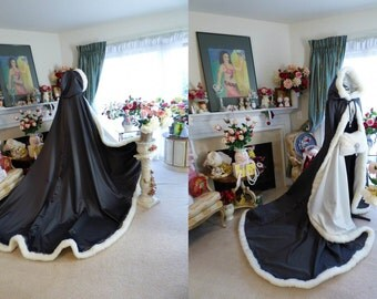 Snow Swan Bridal Cape 55/85-inch Charcoal-Grey / IVORY Satin  Royal-Train-Extra Long  wedding cloak Hooded with fur trim Handmade in USA