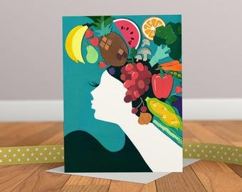 Fruity Lady Card - Art Deco Card - Retro Card - Fruit Card - Blank Card