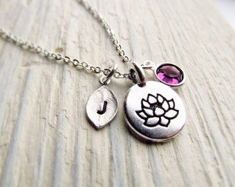 Lotus Necklace Personalized with Leaf Initial and Birthstone, Lotus Flower Jewelry, Lotus Pendant, Lotus Charm, Yoga Gifts, Yoga Jewelry