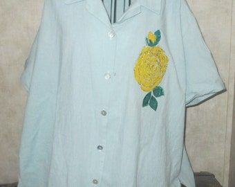 Wearable art  blouse with handpainted Yellow Rose eco upcycled Blair plus size 3xl artsy bo ho reworked top